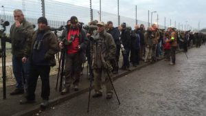 Birders in the queue at Easington, Yorkshire, to see the Siberian Accentor